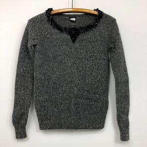 J Crew Sweater Lambs Wool Gray Marled Sequin Neck